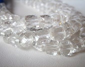 Quartz Crystal Faceted Cube Beads, half strand