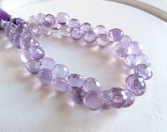 Light Amethyst Facted Candy Kiss Onion Briolettes, Half Strand
