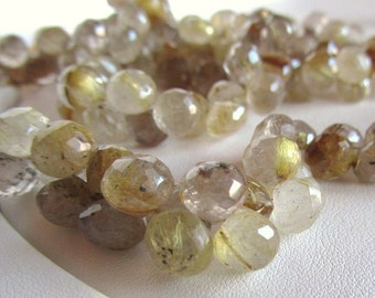 Golden Rutilated Quartz Faceted Candy Kiss Onion Briolettes, Half Strand