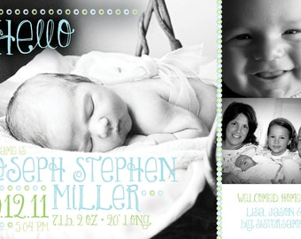 A Touch of Whimsy Bubbles birth announcement (BOY or GIRL) Print Your Own