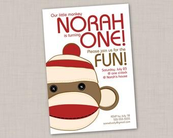 Sock Monkey birthday invitation (4) -- Print Your Own
