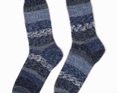 Ladies Women's Hand Knit Wool Socks - Medium Size - BLUE INDIGO COBALT - Opal Superwash Fairytale Collection