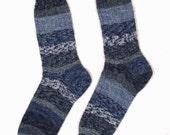 Ladies Women's Hand Knit Wool Socks - Medium Size - BLUE INDIGO COBALT - Opal Superwash Fairytale Collection