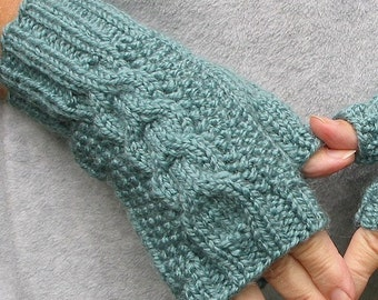 Teal Fingerless Texting Gloves -  Cabled - Soft Chunky Acrylic Wool Blend
