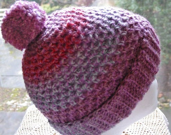 Purple Pink Beanie Hat Women or Teen Size with Pompom - Soft Acrylic - Matching Texting Gloves Available Separately
