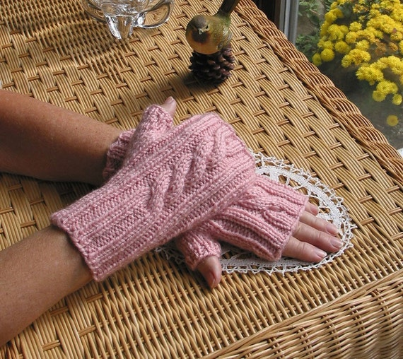 PDF KNITTING PATTERN  Fingerless Cabled Texting Gloves