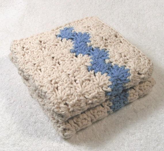 2 large WashCloths - Ecru w.Delft Blue GET FREE SCRUBBY w. any Kitchen Bath Purchase