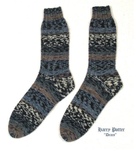 "Harry Potter Socks ""Draco"" - Ladies Medium Size - Opal Yarn - Superwash Wool -  Hand Knit - FREE SHIPPING in U.S."