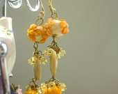 Orange Tree - lampwork and Swarovski crystal earrings