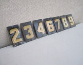 Vintage Metal Black and Yellow Numbers - 7 and 2