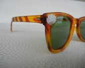 Vintage 1950s Tortoise Tiger Stripe Sunglasses with White Flower Detail