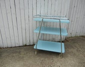 Vintage 1950s Turquoise Metal and Chrome Rolling Kitchen Cart