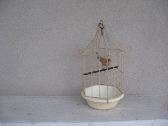 Vintage Beige Metal Birdcage
