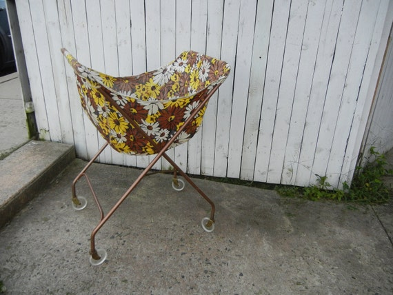 Vintage 1950s Metal Rolling Laundry Cart By AccessoryAddiction