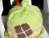Knotty Knitted Hat size 18mo.-4T in Sage-green, Pink and Brown
