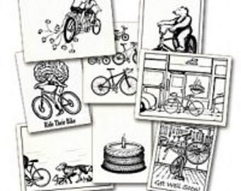 bike themed greeting cards 8 pack