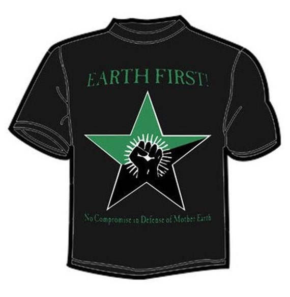 EARTH FIRST fist star green and black