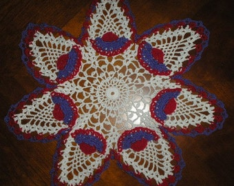NEW RED HAT SOCIETY CROCHETED CENTERPIECE DOILY