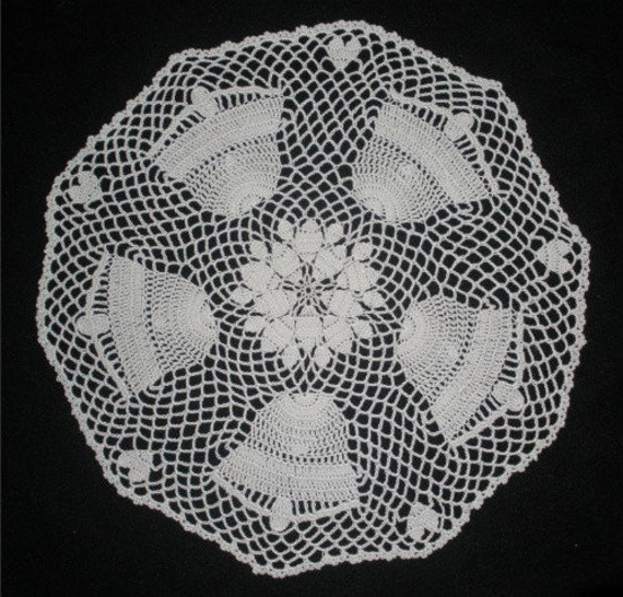 WHITE WEDDING BELLS with HEARTS CROCHETED DOILY CENTERPIECE