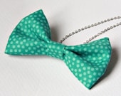 Fabric Bow Tie Necklace Polka Dots