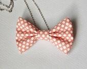 Peach Fabric Polka Dot Bow Tie Necklace