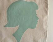 Polka Dot Appliqued Silhouette Tote Bag
