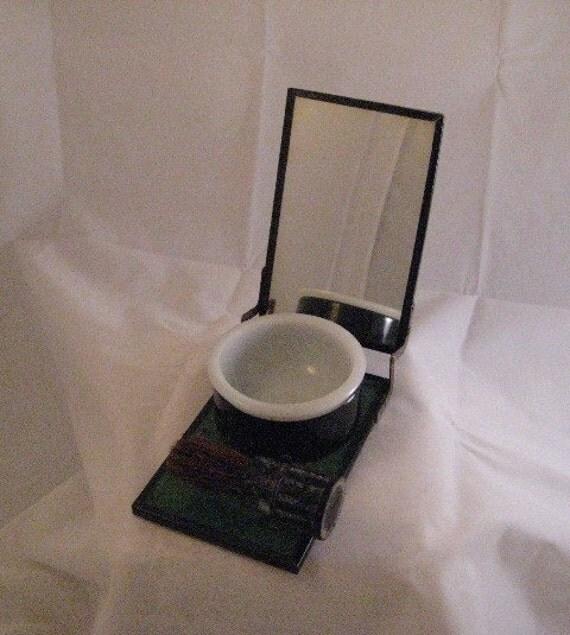 Mens Shaving Kit Set Vintage Metal Shaving Kit with Mirror Bowl and Brush, Shaving Kit