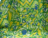 vintage 1960S  Fabric Abstract Mod Geometric  Crepe De Chine  2 Yards Green Yellow Blue White