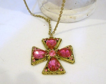Vintage Necklace Maltese Cross Fuchsia Pink Rhinestones in Goldtone French Couture  Style