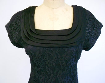 Vintage  Black  Lace  Dress with Draped Satin Portrait Neckline  Short Cap Sleeves  Small 6 8