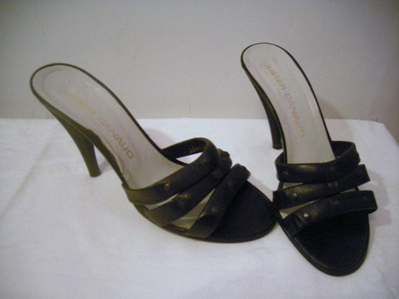 Womens Vintage Sandals Rockabilly Pin Up  Xavier Danaud  Jet Black  Leather size 6.5 Made in France