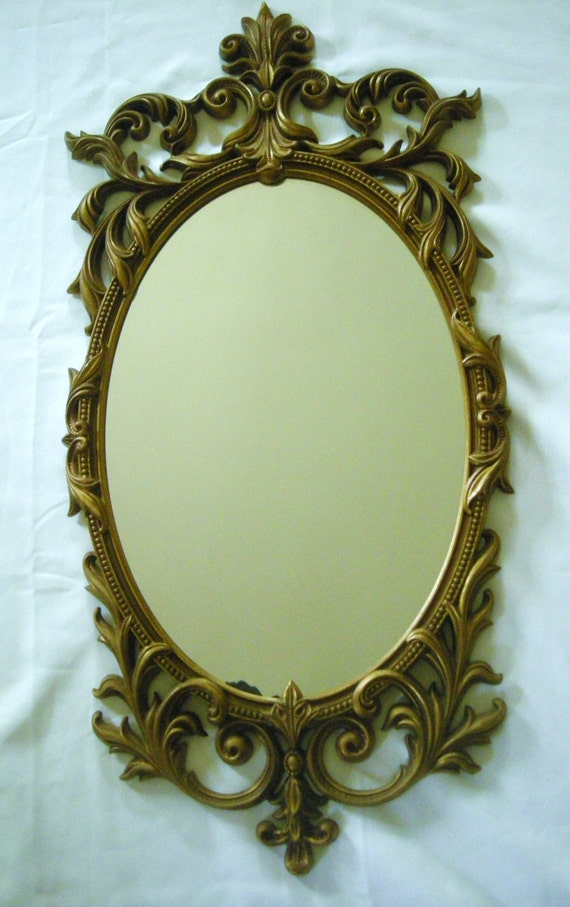 Vintage 1960s Turner Mirror With Arabesque Molded Plastic