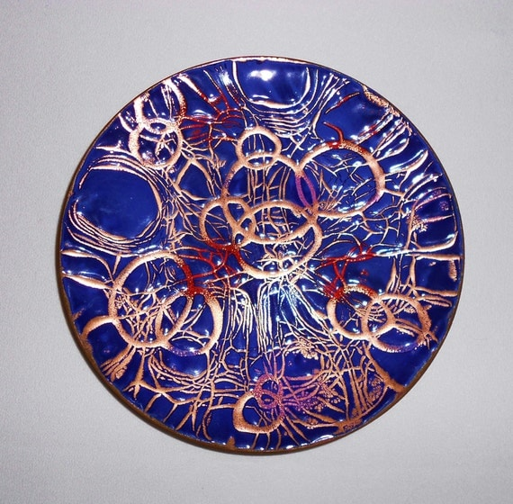 Vintage Enamel On Copper Plate Abstract Mid Century Modern