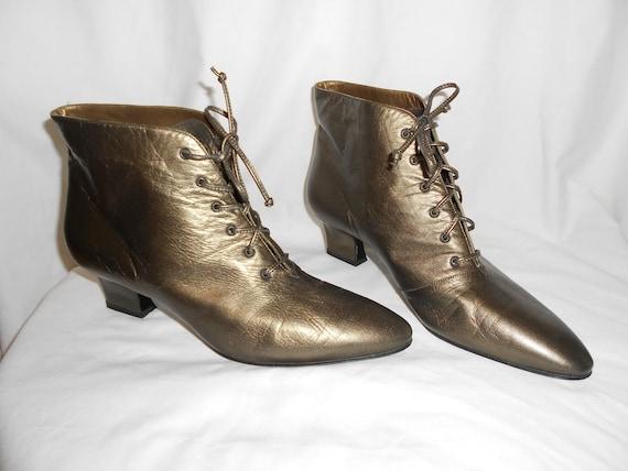 Vintage  Lace Up Ankle Boots  Bronze  Leather  Yves Saint Laurent  size 9.5 Unworn