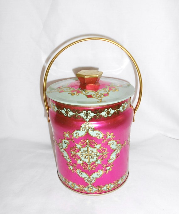 Vintage Metal Tea Tin Bucket Style  Fushcia Pink and Mint Green with Arabesque Designs