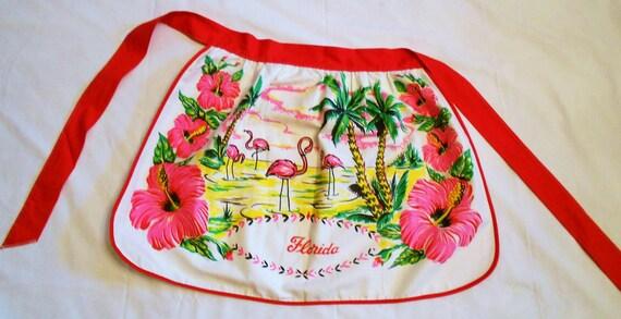 Vintage Half  Apron Florida Souvenir With Pink Flamingos and Palm Trees NOS Unused Cotton