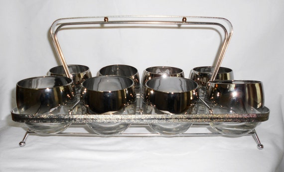 Vintage  Round  Roly Poly  Silver Rimmed Ombre Lowball  Glasses in Carrier Mad Men Chic Set of 8
