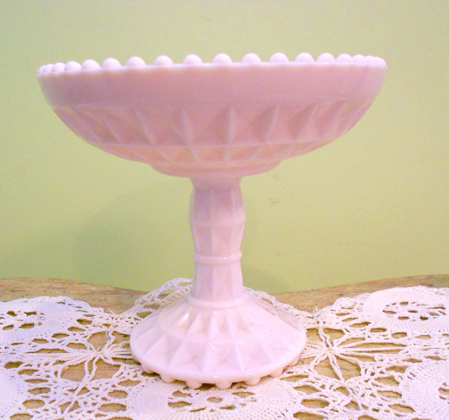 White Milk Glass Cake Stand