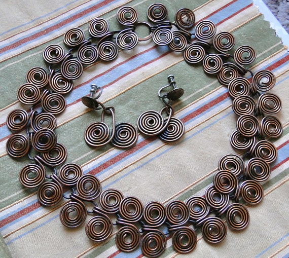 Vintage Copper Necklace and Earrings