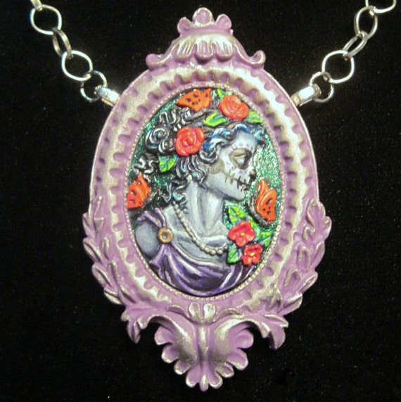 Day of the dead sugar skull woman cameo hand painted