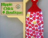 Crochet Hanging Kitchen towel-Valentines day