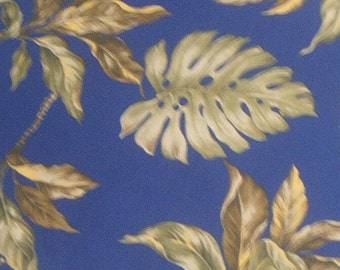 Marianne of Maui Hawaiian Fabric Navy Blue with Avocado Green Leaves