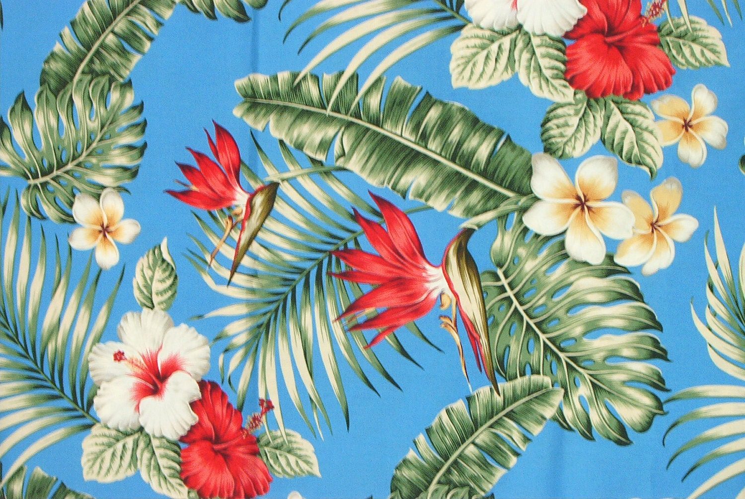 Marianne Of Maui Hawaiian Quilting Fabric Blue With