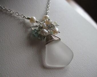 Beach Glass and Gemstone Pendant
