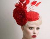 Red cocktail Hat - Fascinator