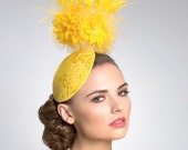 Yellow Fascinator- Cocktail Hat- Headpiece
