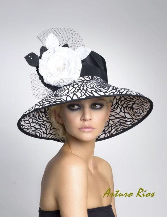 Black and White Derby Hat, Lampshade hat, Kentucky Derby hat, Womens hats