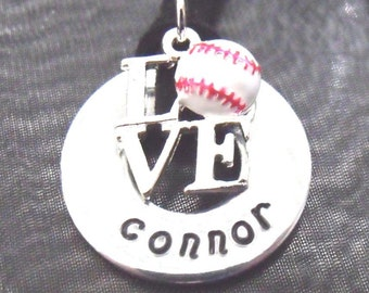 Baseball Love - Custom Hand Stamped Necklace Personalized with the Name of YOUR Number 1 Baseball Star