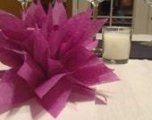 10 Plum Paper Dahlias. Napkin rings perfect for weddings, birthdays, baby showers and fun dinner parties. Tissue paper pom pom flowers