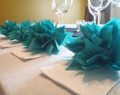 10 Teal Paper Dahlia Napkin Holders.Eco wedding, hip parties, babies, wine night. Tissue paper Pom Pom flowers
